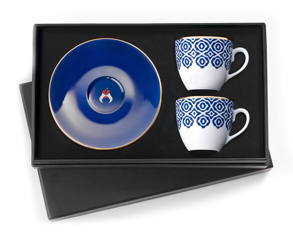 set von 2 kaffeetassen bleu blanc bleue selamlique